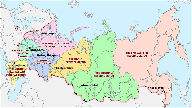 Map of Federal okrugs of the Russian Federation