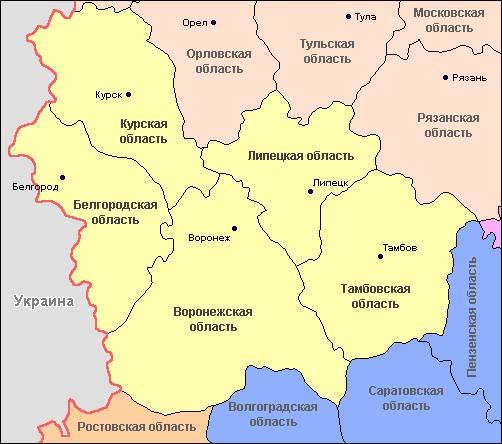 карта Центрально-Чернозёмного экономического района.