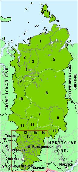 Карта Районов Красноярского Края
