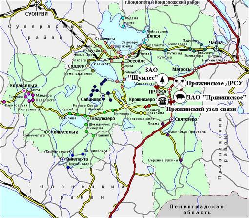 Карта Пряжинского района