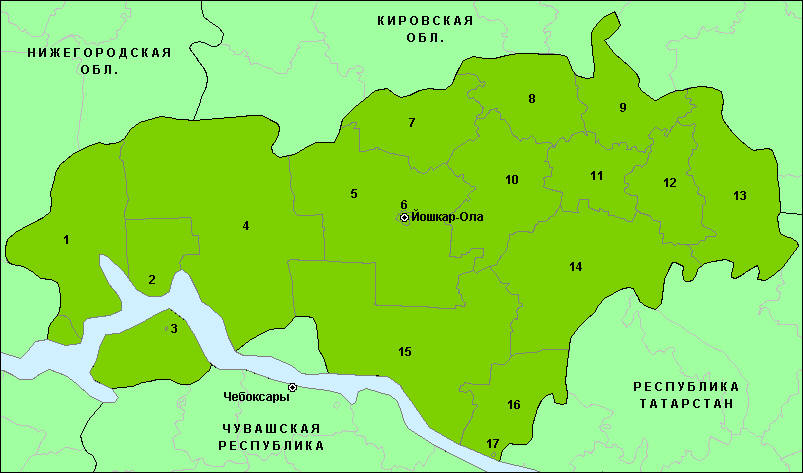 Карта Марий Эл Оршанский Район